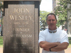 Al DeFilippo at John Wesley Statue Savannah, Georgia