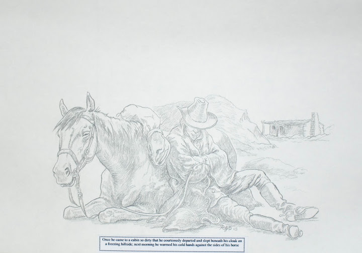 Asbury sleeps against his horse, sketch by Richard Douglas