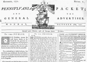 Pennsylvania Packet October 28, 1771 details of Asbury's ships and Atlantic Crossing