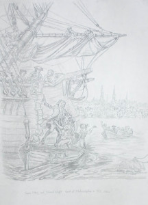 Francis Asbury Lands at Philadelphia Atlantic Crossing Drawing by Richard G. Douglas Used with Permission