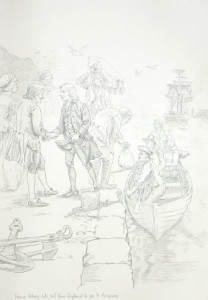 Francis Asbury Atlantic Crossing Leaving England Drawing by  Richard G. Douglas Used with Permission