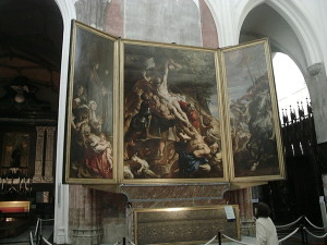 Triptych Painting Raising Cross