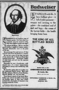 Budweiser and Shakespear