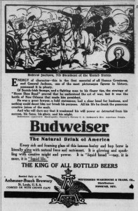 Budweiser and Andrew Jackson