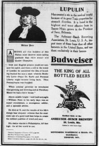 Budweiser and William Penn
