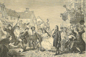John Wesley preaching at Wednesbury riots